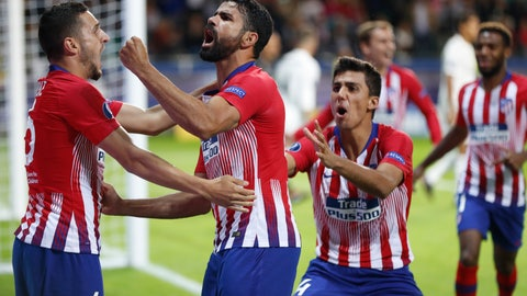 <p>               Atletico's Diego Costa, 2nd left celebrates with teammates after scoring his sides first goal during the UEFA Super Cup final soccer match between Real Madrid and Atletico Madrid at the Lillekula Stadium in Tallinn, Estonia, Wednesday, Aug. 15, 2018. (AP Photo/Pavel Golovkin)             </p>
