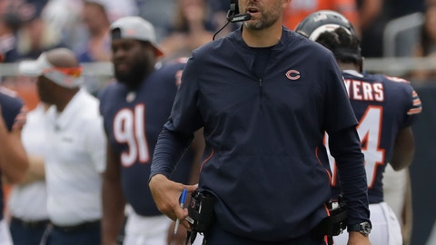 <p>               Chicago Bears head coach Matt Nagy during the first half of a preseason NFL football game against the Kansas City Chiefs Saturday, Aug. 25, 2018, in Chicago. (AP Photo/Nam Y. Huh)             </p>