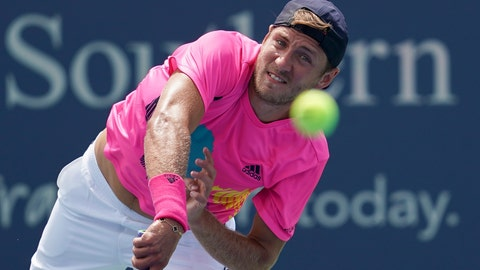 <p>               Lucas Pouille, of France, serves to Andy Murray, of Great Britain, in the first round at the Western & Southern Open, Monday, Aug. 13, 2018, in Mason, Ohio. (AP Photo/John Minchillo)             </p>