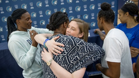 <p>               Minnesota Lynx guard Lindsay Whalen is hugged by her teammates after she announced her retirement during a news conference at Mayo Square, Monday, Aug. 13, 2018 in Minneapolis, Minn. Whalen led the Lynx to four WNBA championships and appeared in six All-Star games. (Elizabeth Flores/Star Tribune via AP)             </p>