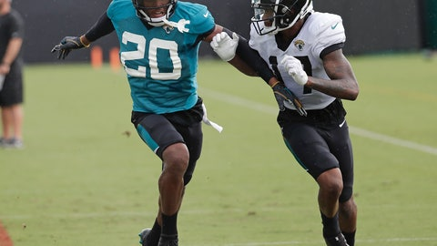 <p>               FILE - In this July 31, 2018, file photo, Jacksonville Jaguars cornerback Jalen Ramsey (20) defends against receiver D.J. Chark Jr. during a practice at NFL football training camp in Jacksonville, Fla. The Jaguars have suspended All-Pro cornerback Ramsey and defensive end Dante Fowler for violating team rules and conduct unbecoming a Jaguars football player. (AP Photo/John Raoux, File)             </p>