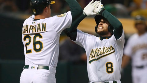 <p>               Oakland Athletics' Jed Lowrie, right, celebrates with Matt Chapman (26) after hitting a two-run home run off Seattle Mariners' Felix Hernandez in the third inning of a baseball game Tuesday, Aug. 14, 2018, in Oakland, Calif. (AP Photo/Ben Margot)             </p>