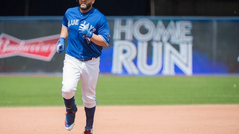 <p>               Toronto Blue Jays designated hitter Kendrys Morales round the bases after hitting a solo home run against the Baltimore Orioles during the seventh inning of a baseball game in Toronto, Wednesday, Aug. 22, 2018. (Nathan Denette/The Canadian Press via AP)             </p>