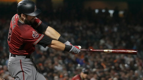 <p>               Arizona Diamondbacks' Steven Souza Jr. hits an RBI double against the San Francisco Giants during the fourth inning of a baseball game in San Francisco, Wednesday, Aug. 29, 2018. (AP Photo/Jeff Chiu)             </p>