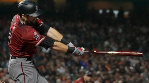 <p>               Arizona Diamondbacks' Steven Souza Jr. hits an RBI double against the San Francisco Giants during the fourth inning of a baseball game in San Francisco, Wednesday, Aug. 29, 2018. (AP Photo/Jeff Chiu)             </p>