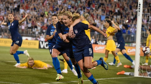 <p>               FILE - In this July 29, 2018, file photo, United States' Lindsey Horan (9) is hugged by teammate McCall Zerboni after scoring a goal during a soccer match against Australia in East Hartford, Conn.  Horan is currently in the final stretch of her season with the Portland Thorns of the National Women's Soccer League, while she's about to embark on qualifying with the national team for next summer's Women's World Cup in France. (AP Photo/Jessica Hill, File)             </p>