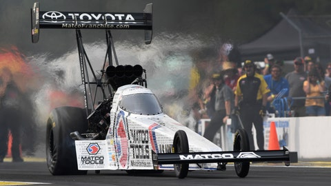 <p>               In this photo provided by the NHRA, Antron Brown drives to the Top Fuel preliminary No. 1 qualifier at the Lucas Oil NHRA Nationals drag races Friday, Aug. 17, 2018, at Brainerd International Raceway in Brainerd, Minn. Brown powered to a 3.789-second pass at 325.45 mph. (Marc Gewertz/NHRA via AP)             </p>