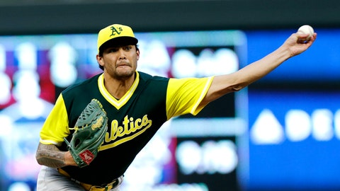 <p>               Oakland Athletics pitcher Sean Manaea throws to a Minnesota Twins batter during the first inning of a baseball game Friday, Aug. 24, 2018 in Minneapolis. The Athletics defeated the Twins 7-1. (AP Photo/Andy Clayton-King)             </p>