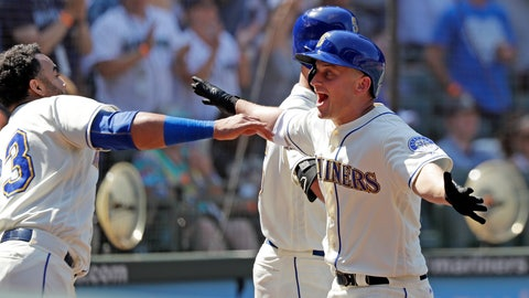 <p>               Seattle Mariners' Kyle Seager, right, runs into the arms of Nelson Cruz after Seager's home run against the Toronto Blue Jays in the seventh inning of a baseball game Sunday, Aug. 5, 2018, in Seattle. (AP Photo/Elaine Thompson)             </p>