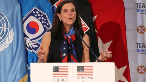 <p>               FILE - In this Aug. 1, 2017, file photo, U.S. Olympic Committee chief marketing officer Lisa Baird speaks about the Team USA WinterFest for the upcoming 2018 Pyeongchang Winter Olympic Games, at Yongsan Garrison, a U.S. military base in Seoul, South Korea. The longtime chief marketing officer of the U.S. Olympic Committee U.S. Olympic Committee is taking a similar position at New York Public Radio. Lisa Baird spent nine years with the USOC. She reimagined the organization's branding, cutting deals with United Airlines, Hershey, Nike, Polo and others. The value of the deals she brokered were estimated at $1 billion. (AP Photo/Lee Jin-man, File)             </p>