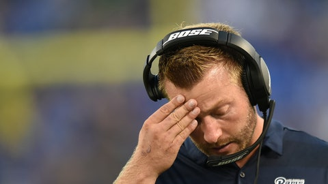 <p>               Los Angeles Rams head coach Sean McVay walks on the sideline in the first half of a preseason NFL football game against the Baltimore Ravens, Thursday, Aug. 9, 2018, in Baltimore. (AP Photo/Gail Burton)             </p>