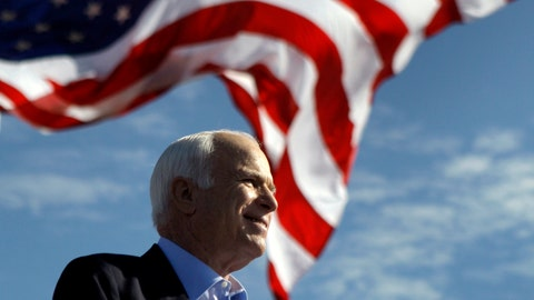 <p>               FILE - In this Nov. 3, 2008, file photo, Republican presidential candidate Sen. John McCain, R-Ariz., speaks at a rally in Tampa, Fla. Aide says senator, war hero and GOP presidential candidate McCain died Saturday, Aug. 25, 2018. He was 81. (AP Photo/Carolyn Kaster, File)             </p>