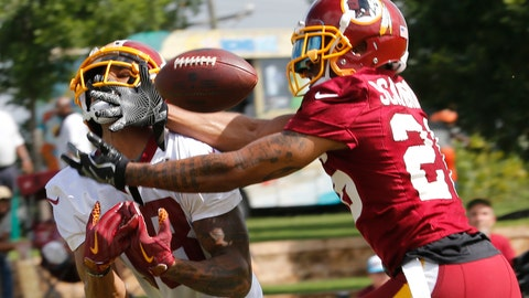 <p>               File-This July 26, 2018, file photo shows Washington Redskins cornerback Orlando Scandrick, right, breaking up a pass intended for wide receiver Josh Doctson at NFL football training camp in Richmond, Va. The Washington Redskins have released Scandrick. Coach Jay Gruden confirmed the move Tuesday, Aug. 14, 2018, before the final practice of training camp. Washington signed Scandrick to a two-year deal in March after the Dallas Cowboys cut him. Gruden says the decision had nothing to do with Scandrick's play.  (AP Photo/Steve Helber, File)             </p>