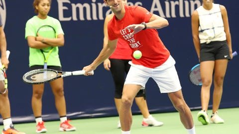 <p>               Novak Djokovic participates at the Arthur Ashe Kids' Day at the USTA Billie Jean King National Tennis Center on Saturday, Aug. 25, 2018, in New York. (Photo by Greg Allen/Invision/AP)             </p>