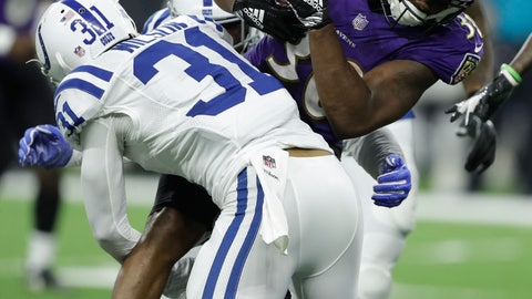 <p>               Baltimore Ravens running back Kenneth Dixon (30) is tackled by Indianapolis Colts cornerback Quincy Wilson (31) in the first half of an NFL preseason football game in Indianapolis, Monday, Aug. 20, 2018. (AP Photo/Darron Cummings)             </p>