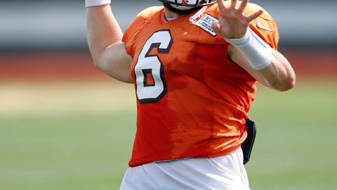 <p>               Cleveland Browns quarterback Baker Mayfield throws during an NFL football team practice Monday, Aug. 27, 2018, in Berea, Ohio. (AP Photo/Ron Schwane)             </p>
