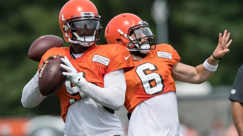 <p>               FILE - In this Aug. 2, 2018, file photo, Cleveland Browns quarterbacks Tyrod Taylor, left, and Baker Mayfield throw passes during NFL football training camp, in Berea, Ohio. Former Buffalo quarterback Tyrod Taylor will start while top overall pick Baker Mayfield develops. (AP Photo/Ken Blaze, File)             </p>
