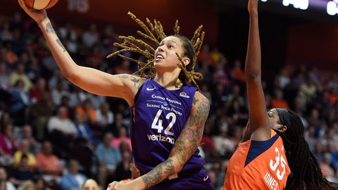 <p>               Phoenix Mercury center Brittney Griner (42) gets past the defense of Connecticut Sun center Jonquel Jones (35) during the second half of a single-game WNBA basketball playoff matchup Thursday, Aug. 23, 2018, in Uncasville, Conn. (Sean D. Elliot/The Day via AP)             </p>