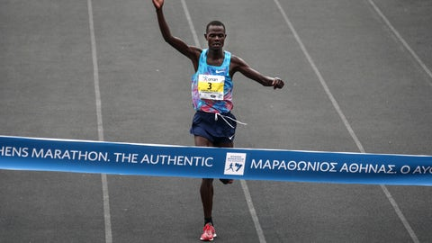 <p>               FILE - In this Sunday, Nov. 12, 2017 file photo, Kenya's Samuel Kalalei finishes in the first place at the 35th Athens Marathon at Panathenaikon stadium in Athens.  Kenyan marathon runner Samuel Kalaei has tested positive for EPO, another athlete from the East African nation to be suspended for doping. Kalalei's positive test was announced Tuesday, Aug. 7, 2018 by the Athletics Integrity Unit and he has been provisionally suspended from all competition. (AP Photo/Yorgos Karahalis)             </p>