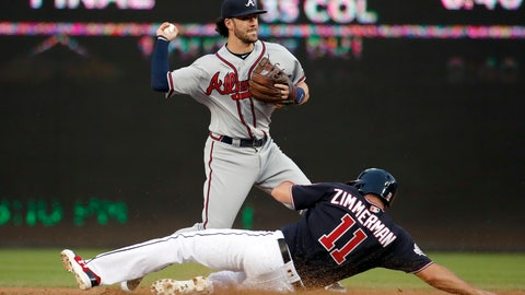 <p>               Atlanta Braves shortstop Dansby Swanson gets the out on Washington Nationals' Ryan Zimmerman as he completes a double play on Daniel Murphy during the second inning of the second baseball game of a doubleheader at Nationals Park, Tuesday, Aug. 7, 2018, in Washington.(AP Photo/Alex Brandon)             </p>