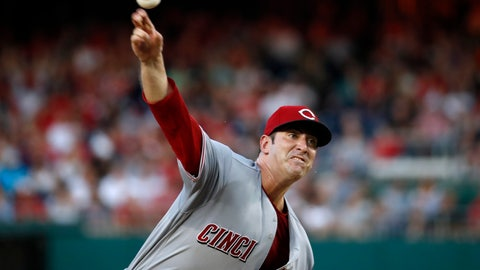<p>               Cincinnati Reds starting pitcher Matt Harvey throws during the third inning of the second baseball game of a doubleheader against the Washington Nationals at Nationals Park, Saturday, Aug. 4, 2018, in Washington. (AP Photo/Alex Brandon)             </p>