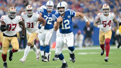 <p>               Indianapolis Colts quarterback Andrew Luck (12) scrambles away from San Francisco 49ers linebacker Dekoda Watson (97), defensive end Arik Armstead (91) and defensive end Cassius Marsh (54) in the first half of an NFL preseason football game in Indianapolis, Saturday, Aug. 25, 2018. (AP Photo/AJ Mast)             </p>