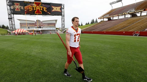 <p>               Iowa State quarterback Kyle Kempt walks across the field during Iowa State's annual NCAA college football media day, Tuesday, Aug. 7, 2018, in Ames, Iowa. (AP Photo/Charlie Neibergall)             </p>