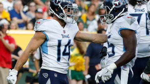 <p>               Tennessee Titans' Darius Jennings (15) is congratulated by Nick Williams after his touchdown catch during the first half of a preseason NFL football game against the Green Bay Packers Thursday, Aug. 9, 2018, in Green Bay, Wis. (AP Photo/Mike Roemer)             </p>
