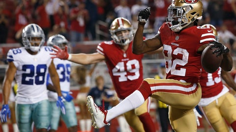 <p>               San Francisco 49ers wide receiver Richie James (82) celebrates after scoring a touchdown against the Dallas Cowboys during the second half of an NFL preseason football game in Santa Clara, Calif., Thursday, Aug. 9, 2018. (AP Photo/Josie Lepe)             </p>