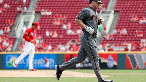 <p>               Arizona Diamondbacks' Paul Goldschmidt runs the bases after hitting a two-run home run off Cincinnati Reds starting pitcher Luis Castillo in the sixth inning of a baseball game, Sunday, Aug. 12, 2018, in Cincinnati. (AP Photo/John Minchillo)             </p>