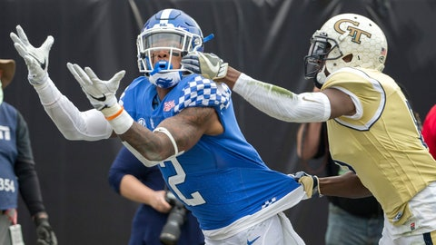 <p>               FILE - In this Dec. 31, 2016, file photo, Kentucky wide receiver Dorian Baker (2) catches a touchdown pass while being defended by Georgia Tech defensive back Step Durham (8) during the second half of the TaxSlayer Bowl NCAA college football game, in Jacksonville, Fla. Overcoming injuries that made walking difficult for Dorian Baker might explain why the Kentucky receiver is so eager to run back on the field. He has recovered from a season-ending ankle injury last August and is out to prove he can be a reliable target for the Wildcats.  (AP Photo/Stephen B. Morton, File)             </p>