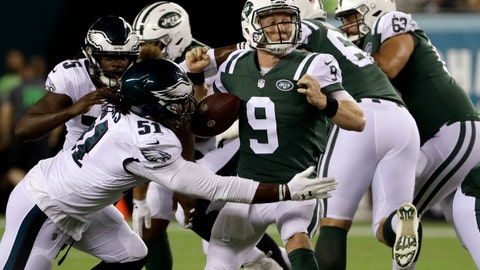 <p>               Philadelphia Eagles' Steven Means (51) knocks the ball loose from New York Jets' John Wolford (9) during the second half of a preseason NFL football game Thursday, Aug. 30, 2018, in Philadelphia. (AP Photo/Michael Perez)             </p>