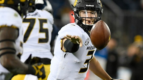 <p>               FILE - In this Oct. 28, 2017, file photo, Missouri quarterback Drew Lock (3) passes to Missouri running back Larry Rountree III (33), during the second half of an NCAA college football game, in East Hartford, Conn. The Tigers ranked eighth nationally in total offense last year. And with 10 starters on offense returning _ including its entire starting offensive line _ Missouri is in good shape to replicate its elite offense from last season.(AP Photo/Jessica Hill, File)             </p>