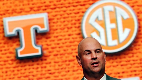 <p>               FILE - In this July 18, 2018, file photo, Tennessee NCAA college football head coach Jeremy Pruitt speaks during Southeastern Conference Media Days in Atlanta. Tennessee's quarterback situation remains a mystery less than a week before the first game of Pruitt's coaching tenure. (AP Photo/John Bazemore, File)             </p>