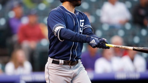 <p>               San Diego Padres' Eric Hosmer follows the flight of his two-run home run off Colorado Rockies starting pitcher Tyler Anderson in the first inning of a baseball game Tuesday, Aug. 21, 2018, in Denver. (AP Photo/David Zalubowski)             </p>