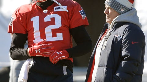 <p>               FILE - In this Jan. 18, 2018, file photo, New England Patriots quarterback Tom Brady, left, stands with head coach Bill Belichick during an NFL football practice, in Foxborough, Mass.  Many of the faces change every year in Miami, Buffalo, New York _ and even in Foxborough _ but Bill Belichick and Tom Brady are constants in the division. (AP Photo/Steven Senne, File)             </p>