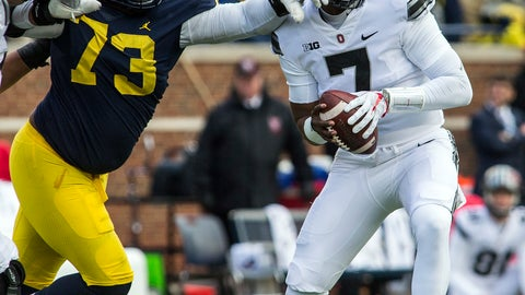 <p>               File-This Nov. 25, 2017, file photo shows Michigan defensive lineman Maurice Hurst (73) reaching for Ohio State quarterback Dwayne Haskins (7) during the third quarter of an NCAA college football game in Ann Arbor, Mich.  The major obstacle to Haskins becoming Ohio State's next starting quarterback was erased when Joe Burrow decided to transfer to LSU after spring practice rather than battle it out with Haskins in fall camp. Haskins already secured his place in Buckeyes lore by winning last year's Michigan game, takes the keys from four-year starter J.T. Barrett. (AP Photo/Tony Ding, File)             </p>