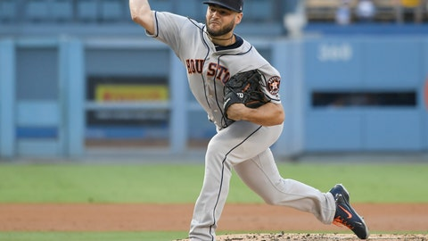 <p>               Houston Astros starting pitcher Lance McCullers Jr. delivers against the Los Angeles Dodgers during the second inning of a baseball game Saturday, Aug. 4, 2018, in Los Angeles. (AP Photo/John McCoy)             </p>