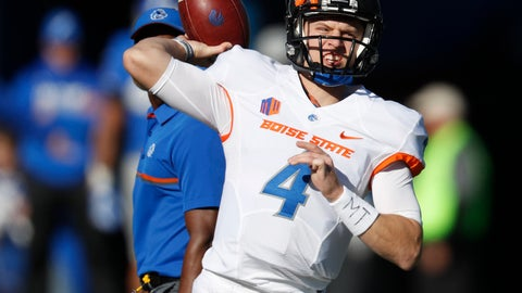 <p>               FILE - In this Nov. 25, 2016, file photo, Boise State Broncos quarterback Brett Rypien warms up before the first half of an NCAA college football game at Air Force Academy, Colo. oise State could very well make this a memorable 20th season for the Mountain West Conference. That's big preseason talk, but not out of the realm of feasibility given the return of seasoned quarterback Brett Rypien, a stalwart offensive line and a formidable defense. (AP Photo/David Zalubowski, File)             </p>
