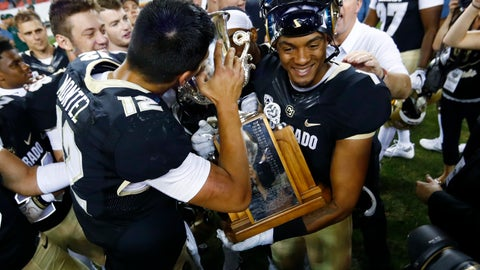 <p>               FILE - In this Sept. 1, 2017, file photo, Colorado quarterback Steven Montez, left, kisses the Rocky Mountain Showdown Trophy as wide receiver Shay Fields holds the cup after defeating Colorado State in an NCAA college football game, in Denver. Colorado is going for its fourth straight win over Colorado State in the Rocky Mountain Showdown at the home of the Denver Broncos. (AP Photo/David Zalubowski, File)             </p>