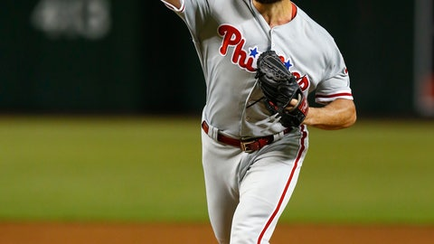 <p>               Philadelphia Phillies pitcher Jake Arrieta throws in the first inning during a baseball game against the Arizona Diamondbacks, Monday, Aug. 6, 2018, in Phoenix. (AP Photo/Rick Scuteri)             </p>
