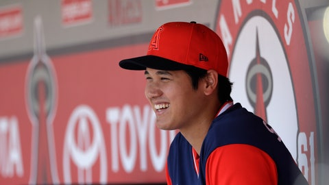 <p>               Los Angeles Angels' Shohei Ohtani smiles in the dugout during before a baseball game against the Houston Astros, Sunday, Aug. 26, 2018, in Anaheim, Calif. (AP Photo/Marcio Jose Sanchez)             </p>