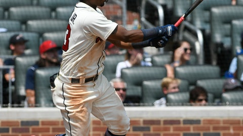 <p>               Atlanta Braves' Ronald Acuna Jr. doubles on a line drive to left field for a two run RBI during the sixth inning of the first game in a baseball doubleheader Monday, Aug. 13, 2018, in Atlanta. (AP Photo/John Amis)             </p>