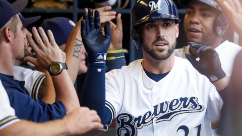 <p>               Milwaukee Brewers' Travis Shaw is congratulated after hitting a grand slam during the first inning of a baseball game against the Colorado Rockies Saturday, Aug. 4, 2018, in Milwaukee. (AP Photo/Morry Gash)             </p>