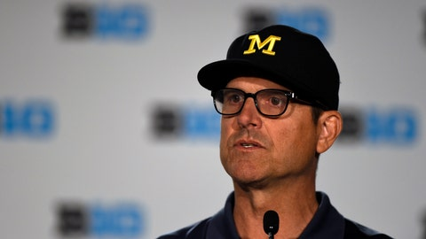 <p>               File-This July 23, 2018, file photo shows Michigan head coach Jim Harbaugh speaking at the Big Ten Conference NCAA college football Media Days in Chicago. Harbaugh is in his fourth year, giving him time to assemble perhaps his best team. The Wolverines, though, may be hard pressed to match the 10-win seasons Harbaugh had in his first two years. (AP Photo/Annie Rice, File)             </p>
