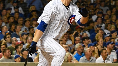 <p>               Chicago Cubs' Jon Lester watches his two RBI-single during the third inning of a baseball game against the New York Mets on Monday, Aug. 27, 2018, in Chicago. (AP Photo/Matt Marton)             </p>