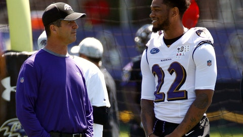 <p>               FILE - In this July 19, 2018, file photo, Baltimore Ravens head coach John Harbaugh, left, chats with cornerback Jimmy Smith (22) during an NFL football training camp practice at the team's headquarters in Owings Mills, Md. Jimmy Smith has been suspended for four games without pay for violating the NFL's personal conduct policy. The suspension, announced Tuesday, Aug. 21, 2018, stems from Smith's behavior toward his ex-girlfriend. (AP Photo/Patrick Semansky, File)             </p>
