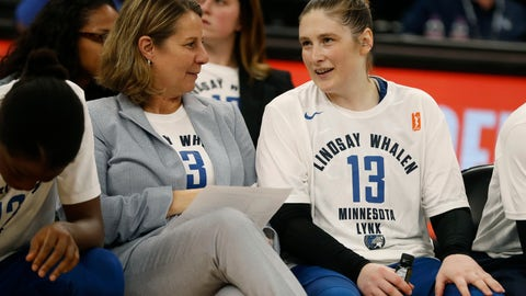 <p>               CORRECTS DATELINE TO MINNEAPOLIS INSTEAD OF ST. PAUL, MINN. - Head coach Cheryl Reeve, left, speaks with Lindsay Whalen Lindsay Whalen following her last regular season game for the Minnesota Lynx Sunday, Aug. 19, 2018, in Minneapolis. Whalen scored 10 points in the final regular-season home game of her career. The Lynx closed the WNBA basketball season with a 88-83 victory over the Washington Mystics. (Richard Tsong-Taatarii/Star Tribune via AP)             </p>