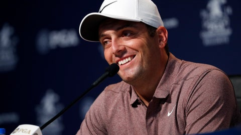 <p>               Francesco Molinari, of Italy, smiles as he listens to a question during a news conference at the PGA Championship golf tournament Tuesday, Aug. 7, 2018, at Bellerive Country Club in St. Louis. (AP Photo/Jeff Roberson)             </p>