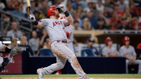 <p>               Los Angeles Angels' Kole Calhoun watches his RBI ground-rule double during the 10th inning of a baseball game against the San Diego Padres, Monday, Aug. 13, 2018, in San Diego. (AP Photo/Orlando Ramirez)             </p>
